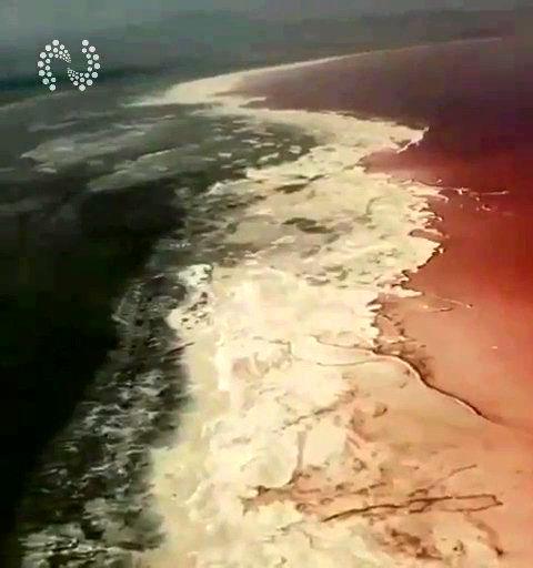 تصاویر عجیب هوایی از حال ناخوش دریاچه ارومیه